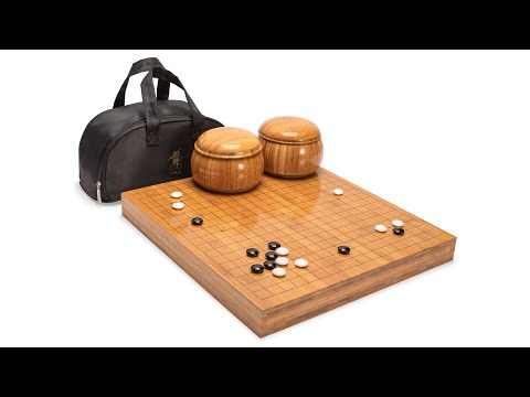 Bamboo 2-Inch Reversible 19x19/13x13 Go Game Set Board with Double Convex Melamine Stones and Bamboo Bowls
