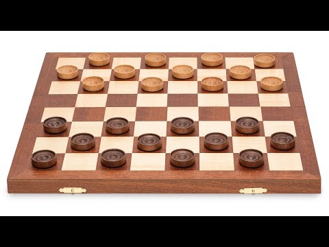 Husaria 15.5-Inch International Checkers Folding Wooden Game Set - 8x8 Board