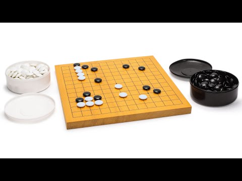 Shin Kaya Beginner's Reversible 13x13 / 9x9 Go Game Set Board (0.8-inch) with Double Convex Melamine Stones