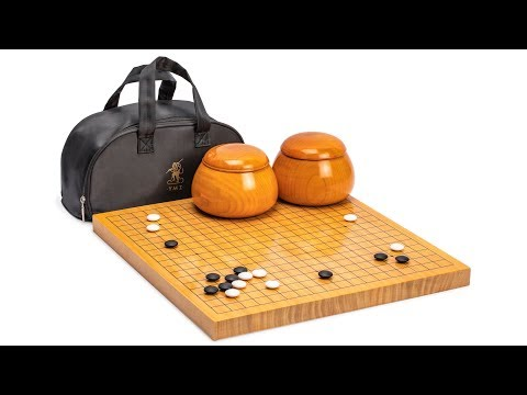 Shin Kaya 1.2-Inch Reversible Go Game Set Board with Double Convex Korean Hardened Glass Paduk Go Stones and Jujube Bowls