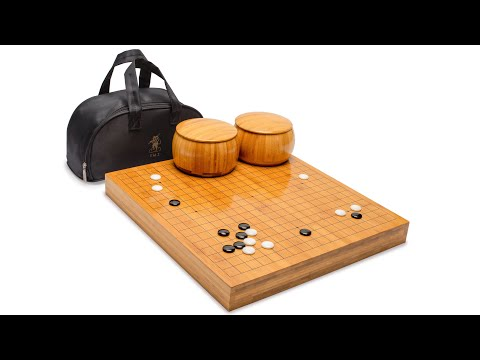 Bamboo 2-Inch Reversible 19x19 / 13x13 Go Game Set Board with Single Convex Melamine Stones and Bamboo Bowls Set