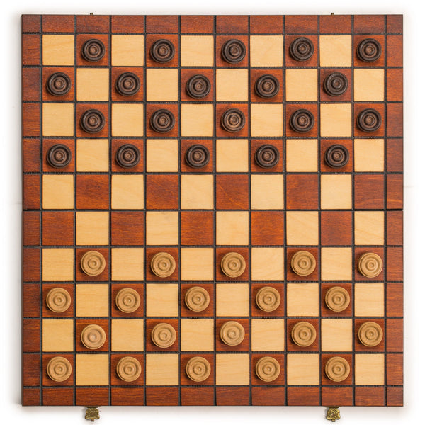 International Checkers (Draughts) Set in Folding Wooden Case - 100 Playing Field