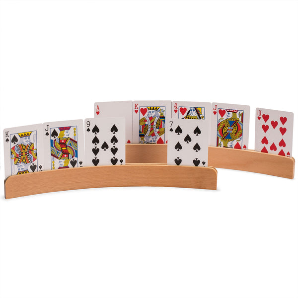Panorama Wooden Playing Card Holders - Set of 4