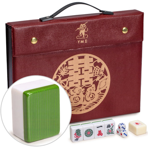 Professional Chinese Mahjong Game Set - Double Happiness (Green) - 146 Medium Size Tiles