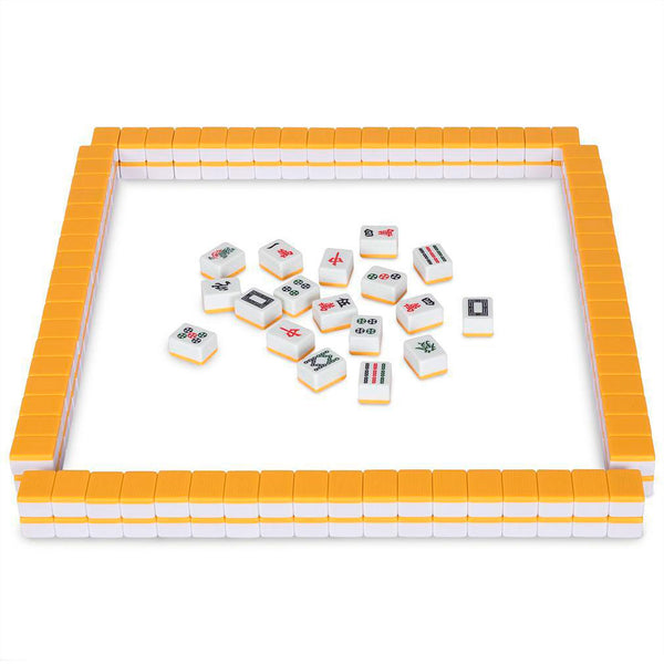 Professional Chinese Mahjong Game Set - Double Happiness (Yellow) - 146 Medium Size Tiles