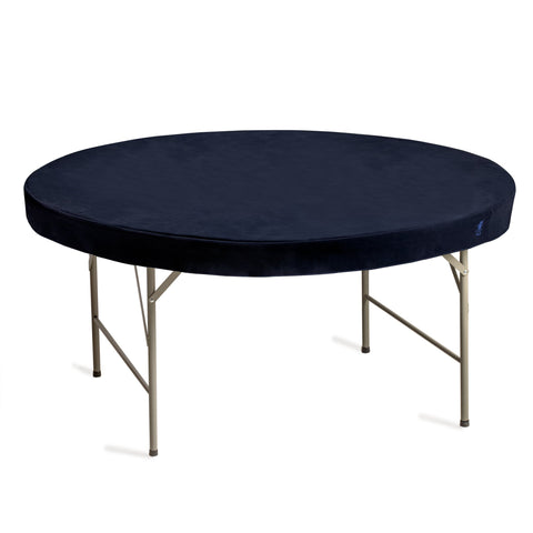 Professional Grade Blue Round Table Cover for Card Games, Mahjong, Board Games, Domino Games, and More - 60 Inches