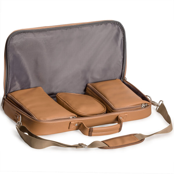 Soft Leatherette Mahjong Case - Brown