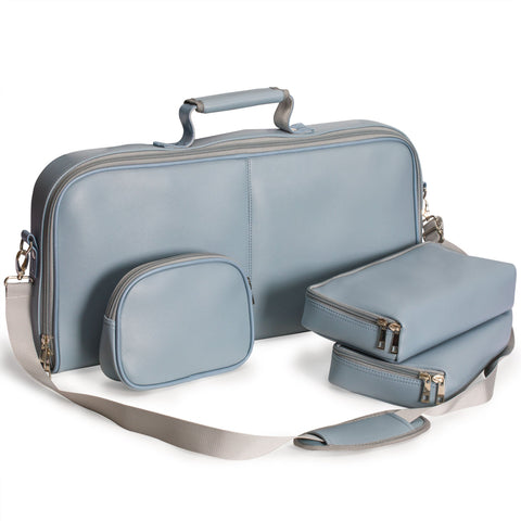Soft Leatherette Mahjong Case - Gray-Blue