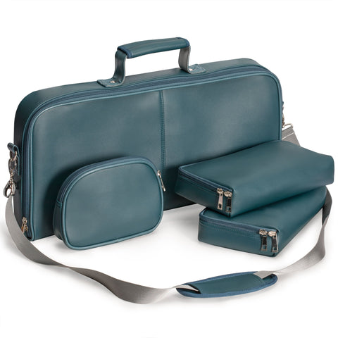 Soft Leatherette Mahjong Case - Lake Green