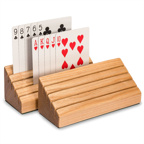 Standard-Size Solid Oak Wood Playing Card Holders - Set of 2