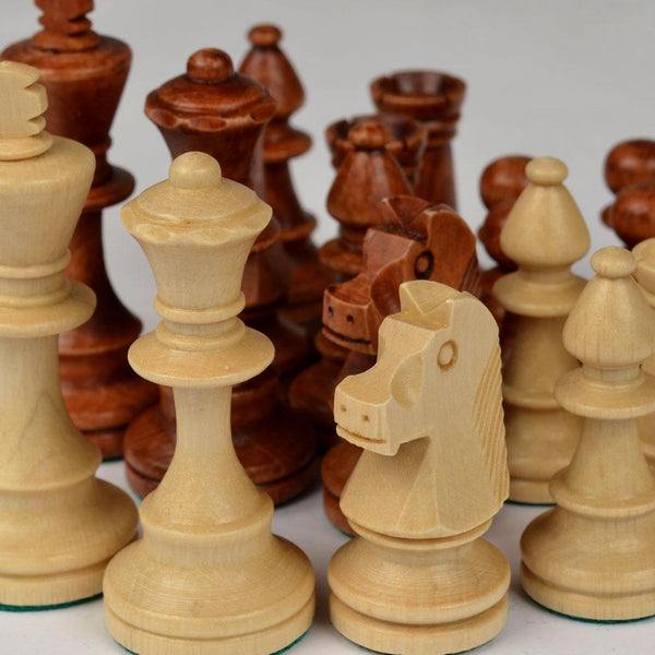 "Staunton No. 4 Tournament Chess Pieces in Wooden Box - 3"" King"