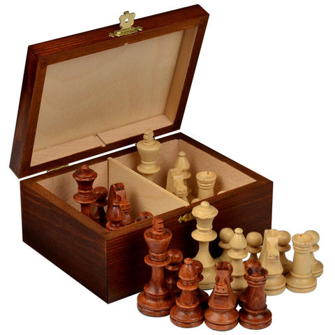 "Staunton No. 4 Tournament Chess Pieces in Wooden Box - 3"" King-Wegiel-Yellow Mountain Imports"