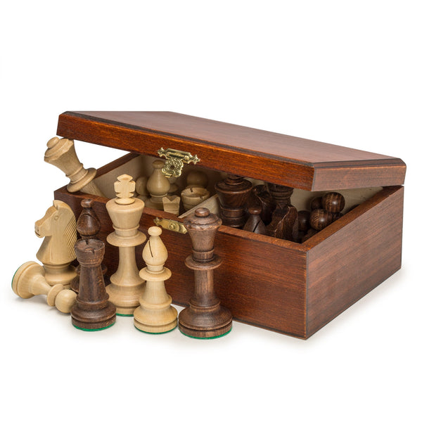 "Staunton No. 5 Tournament Chess Pieces in Wooden Box - 3.5"" King-Wegiel-Yellow Mountain Imports"