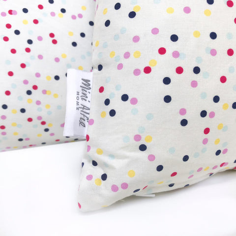 Mini Alfie HOME - pillows in WHITE with multi coloured dots