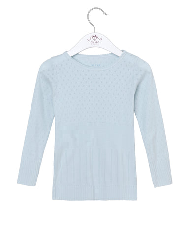 Long Sleeved Blouse with Pointelle Pattern, Baby Blue
