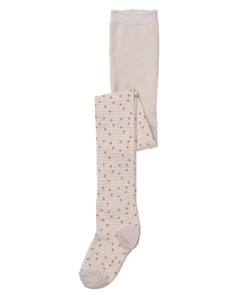 Tights with Stripes and Dots / Pink Tint