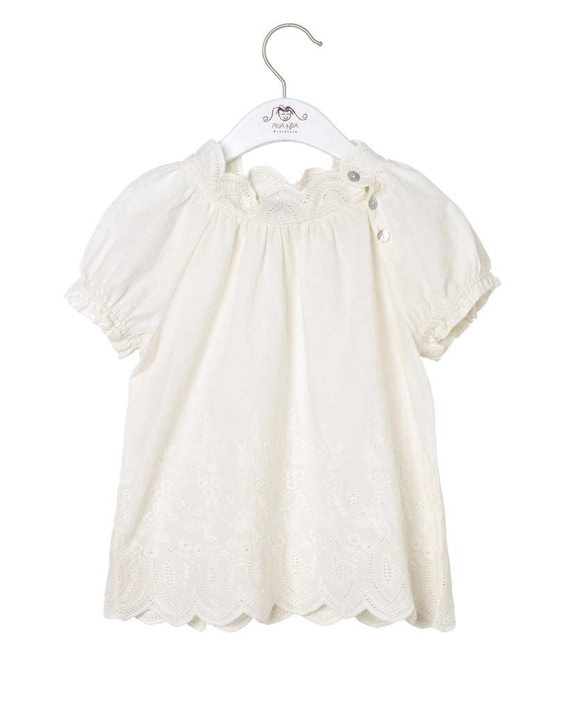 Short Sleeved Broderi Blouse / Chalk