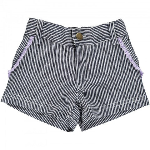 Blue/White Striped Twill Shorts, Organic