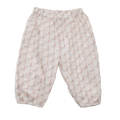 Pants Ivory with Rose Peacocks