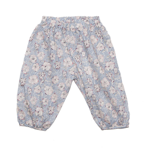 Pants Blue Print with Flowers