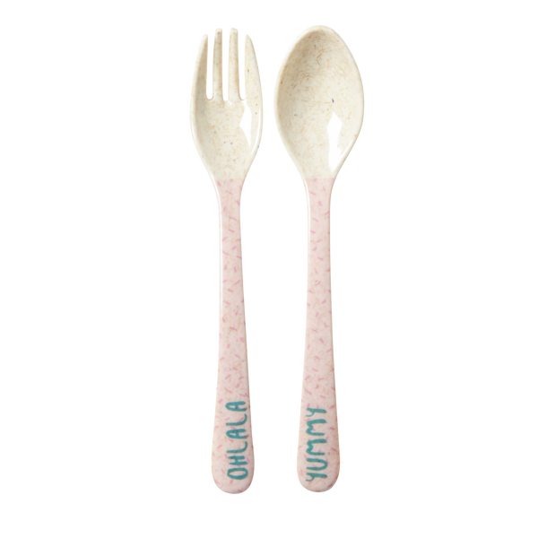 RICE / Kids Bamboo Melamine Spoon and Fork with Girls cooking print