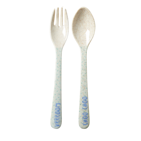 RICE / Kids Bamboo Melamine Spoon and Fork with Boys Race print