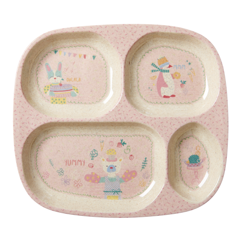 RICE / 4 room Bamboo Melamine Plate with Girls Cooking Print