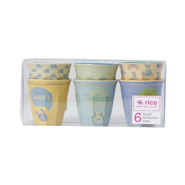 RICE / Box 6 small Bamboo Melamine Cups in Boys racing prints