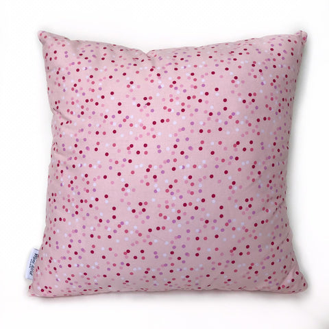 Mini Alfie HOME - pillow in ROSE with multi coloured dots