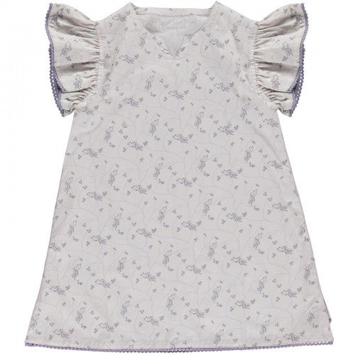 Dress Bird Print, Pale Rose, Organic