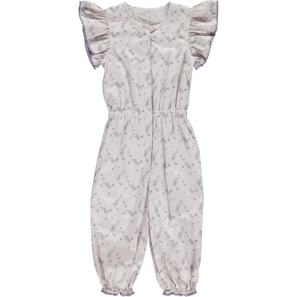 Jumpsuit Bird Print, Pale Rose, Organic