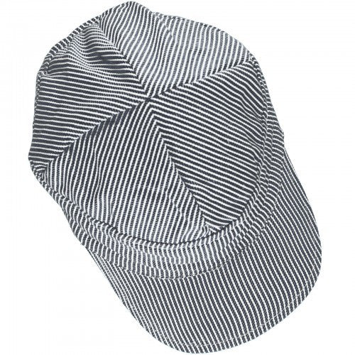 Blue/White Striped Twill Cap, Organic