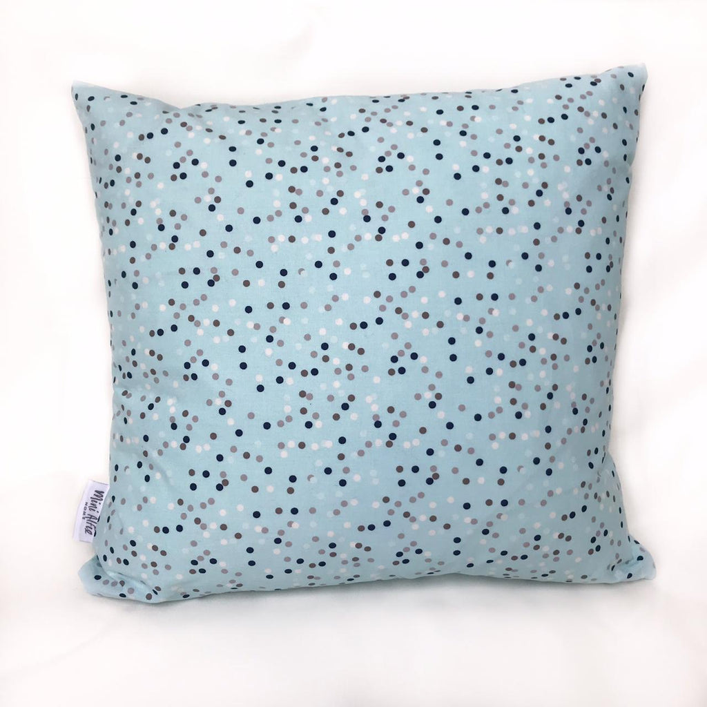 Mini Alfie HOME - pillow in LIGHT BLUE with multi coloured dots