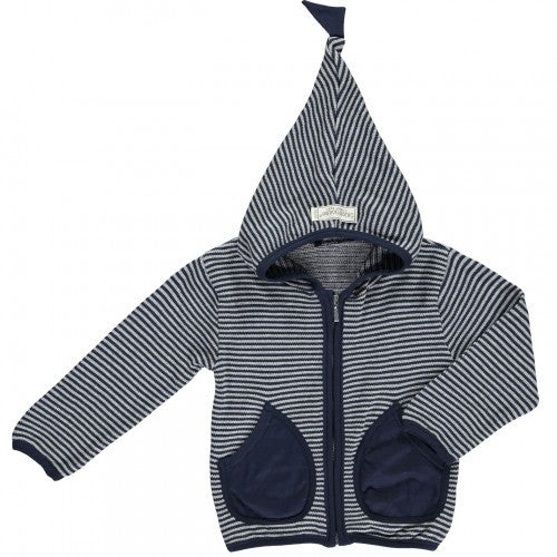 Blue/Light grey Cardigan Hood, Organic