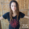 ZIZ Shri Yantra Organic Cotton T Shirt / Black Red