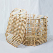 ART DECO Cane Basket with Lid - Natural - Large