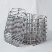 ART DECO Cane Basket with Lid - Grey - Large