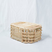 ART DECO Cane Basket with Lid - Natural - Medium