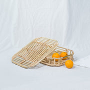ART DECO Cane Tray with Lid - Natural - SCENE SHANG