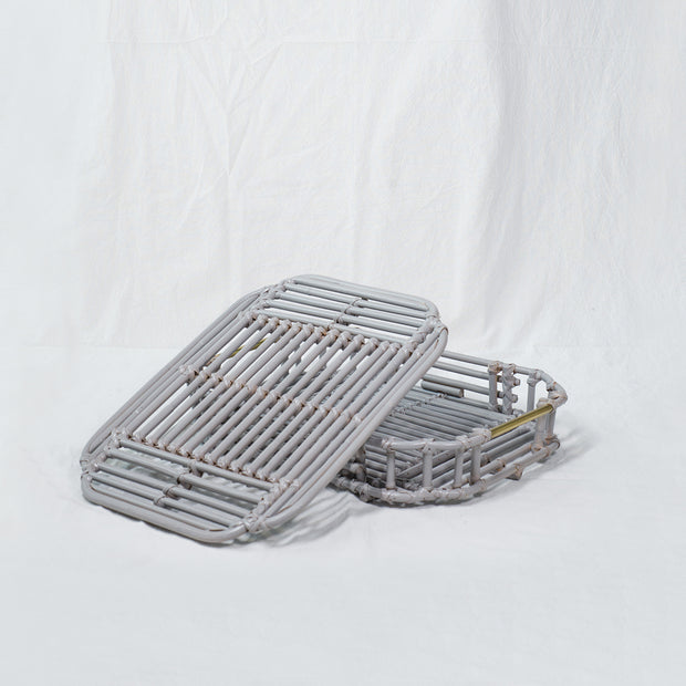 ART DECO Cane Tray with Lid - Grey - SCENE SHANG