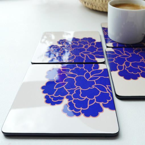 Blue Peony Lacquer Coaster (set of 6) - SCENE SHANG