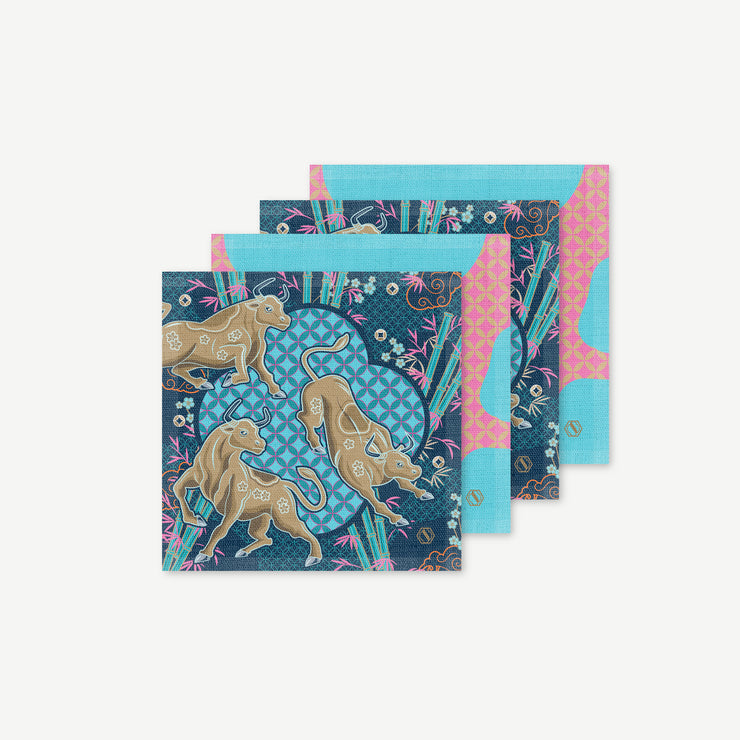 Flourishing Fortune Linen Coaster Set of 4