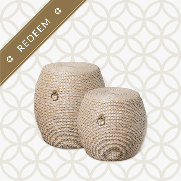 GUIBIN Rewards: <br>400 Taels <br>$20 off Grass Weave Drum Stools - SCENE SHANG