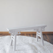 Old Elm Wood Gate Bench - Whitewash - SCENE SHANG
