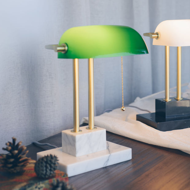THE BANKER Desk Lamp - Satin Emerald - SCENE SHANG