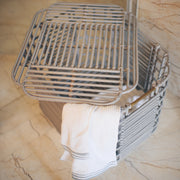ART DECO Cane Basket with Lid - Grey