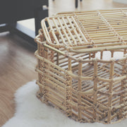 ART DECO Cane Basket with Lid - Natural