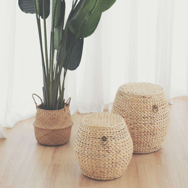 HYACINTH Weave Drum Stool - Small