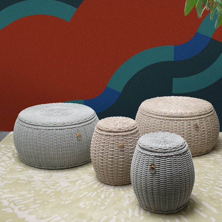 WEAVE Weatherproof Drum Stool with Storage - Tri Colour - SCENE SHANG