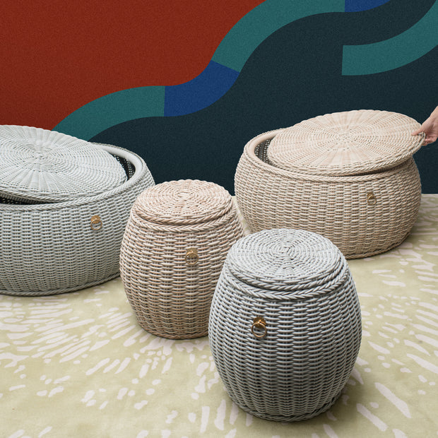 WEAVE Weatherproof Pouf with Storage - Tri Colour - SCENE SHANG